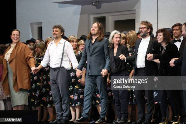 Jennifer Johnston Opera singer Jonas Kaufmann Director Simon Stone during the final applause of the opera premiere of Die tote Stadt by Erich...