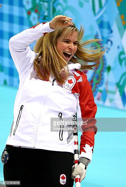 Jennifer Jones of Canada celebrates after defeating Great Britain during the women's curling semifinals at Ice Cube Curling Center on February 19...