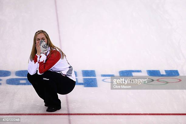 Jennifer Jones of Canada celebrates after placing a stone to win the gold medal during the Gold medal match between Sweden and Canada on day 13 of...