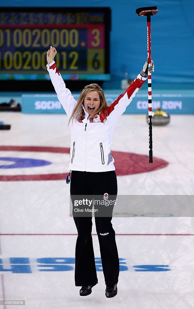 Jennifer Jones of Canada celebrates after placing a stone to win the gold medal looks on during the Gold medal match between Sweden and Canada on day 13 of the Sochi 2014 Winter Olympics at Ice Cube Curling Center on February 20, 2014 in Sochi, Russia.