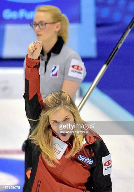 Jennifer Jones of Canada celebrates beating Russia in the semi final during day eight of the World Women's Curling Championship at Tsukisamu...