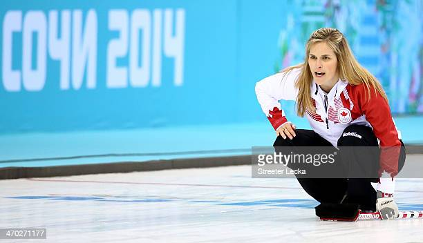 Jennifer Jones of Canada competes during the women's curling semifinals at Ice Cube Curling Center on February 19 2014 in Sochi Russia