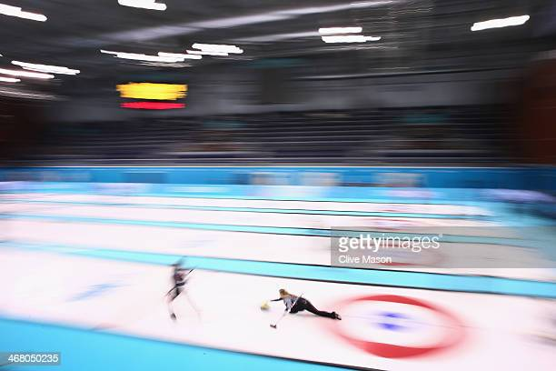 Jennifer Jones of Canada in action during curling training on day 2 of the Sochi 2014 Winter Olympics at the Ice Cube Curling Centre on February 9,...