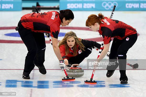 Jennifer Jones of canada in action during Curling Women's Round Robin match between Canada and Russia on day eight of the Sochi 2014 Winter Olympics...