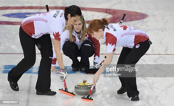 Jennifer Jones of Canada in action during Curling Women's Round Robin match between USA and Canada on day nine of the Sochi 2014 Winter Olympics at...