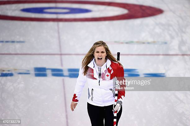 Jennifer Jones of Canada in action during the Gold medal match between Sweden and Canada on day 13 of the Sochi 2014 Winter Olympics at Ice Cube...