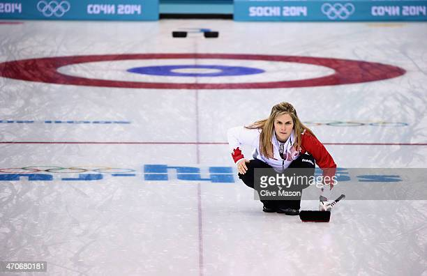 Jennifer Jones of Canada looks on during the Gold medal match between Sweden and Canada on day 13 of the Sochi 2014 Winter Olympics at Ice Cube...