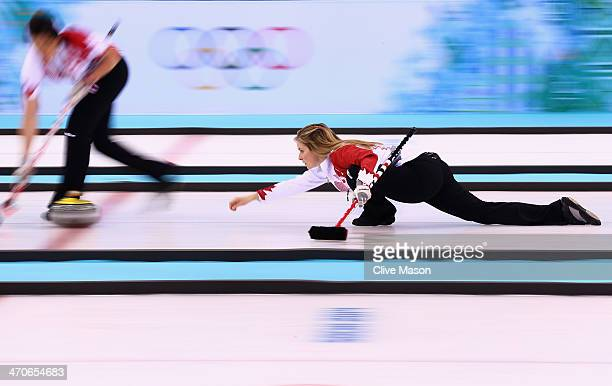 Jennifer Jones of Canada places a stone during the Gold medal match between Sweden and Canada on day 13 of the Sochi 2014 Winter Olympics at Ice Cube...