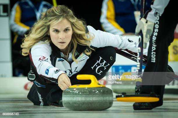 Jennifer Jones on the ice during 2017 WetJet Players Championship which takes place in Ryerson's Mattamy Athletic Centre in Toronto Ontario Canada on...