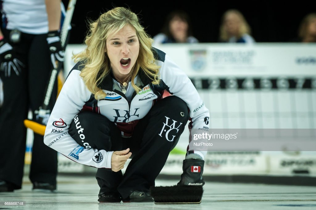 Jennifer Jones on the ice during 2017 WetJet Players Championship which takes place in Ryerson's Mattamy Athletic Centre, in Toronto, Ontario, Canada on April 13, 2017.