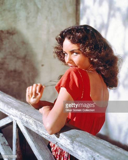 Jennifer Jones US actress looking over her left shoulder in a publicity portrait issued for the film 'Duel in the Sun' USA 1946 The western directed...
