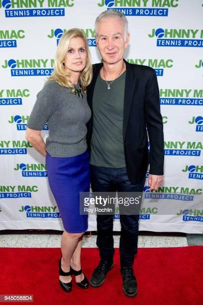 Jennifer Joyce with John McEnroe attend John McEnroe hosts 'Stand Up For A Cause' at Caroline's On Broadway on April 11 2018 in New York City