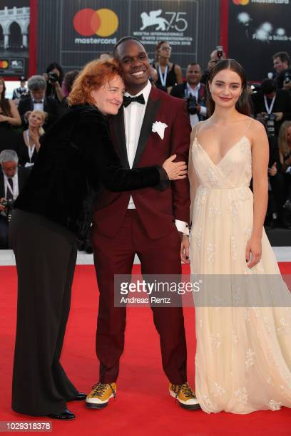 Jennifer Kent Baykali Ganambarr and Aisling Franciosi walk the red carpet ahead of the Award Ceremony during the 75th Venice Film Festival at Sala...