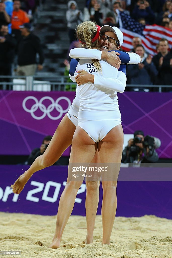 Jennifer Kessy (R) and April Ross of the United States celebrate during Women's Beach Volleyball Preliminary match between the United States and Argentina on Day 2 of the London 2012 Olympic Games at Horse Guards Parade on July 29, 2012 in London, England.