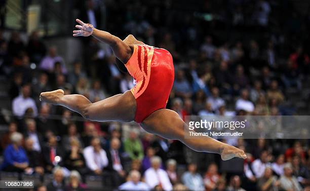 Jennifer Khwela of South Africa performs at the floor during the EnBW Gymnastics Worldcup 2010 at the Porsche Arena on November 13 2010 in Stuttgart...