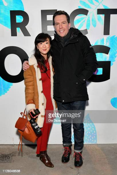 Jennifer Kim and Ed Helms at the Corporate Animals party at DIRECTV Lodge presented by ATT at the Sundance Film Festival 2019 on January 29 2019 in...
