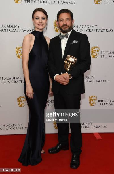 Jennifer Kirby and Tom Burton pose in the winners room at the British Academy Television Craft Awards at The Brewery on April 28 2019 in London...