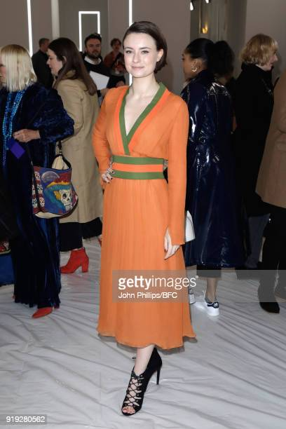 Jennifer Kirby attends the Jasper Conran show during London Fashion Week February 2018 at Claridges Hotel on February 17 2018 in London England