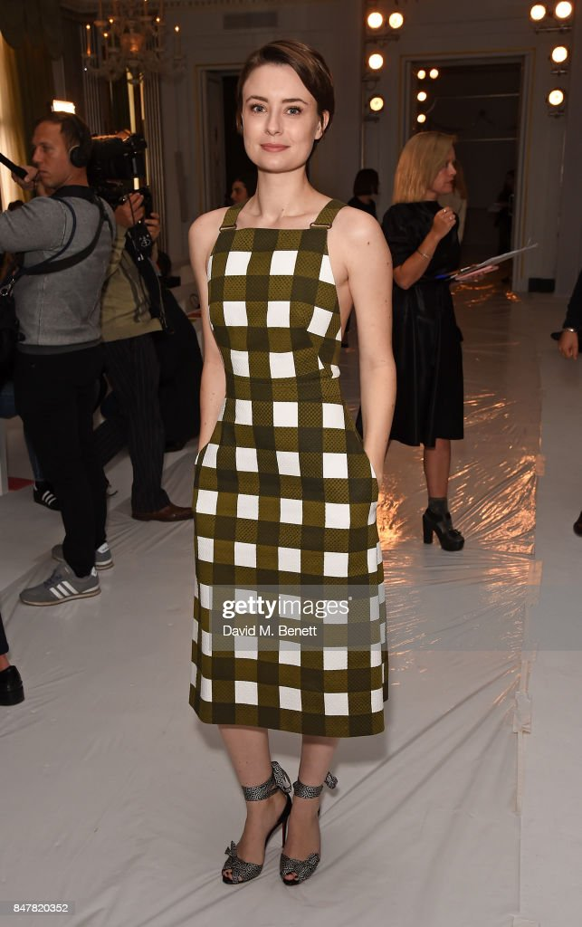 Jennifer Kirby attends the Jasper Conran SS18 catwalk show during London Fashion Week September 2017 on September 16, 2017 in London, United Kingdom.