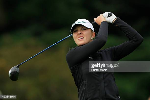 Jennifer Kirby of Canada hits her tee shot on the 11th hole during the second round of the Wegmans LPGA Championship at Monroe Golf Club on August 15...