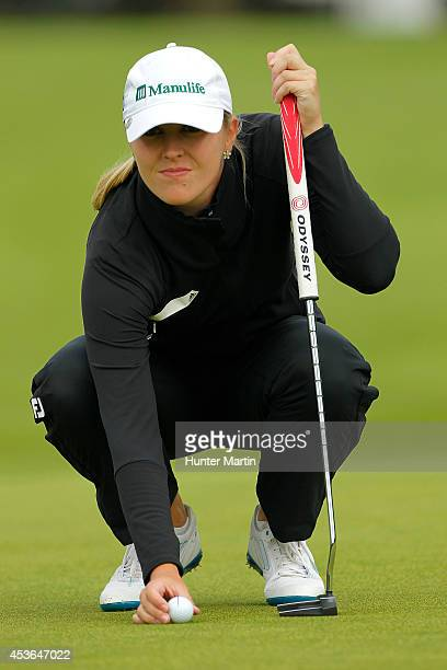 Jennifer Kirby of Canada lines up her birdie putt on the 10th hole during the second round of the Wegmans LPGA Championship at Monroe Golf Club on...