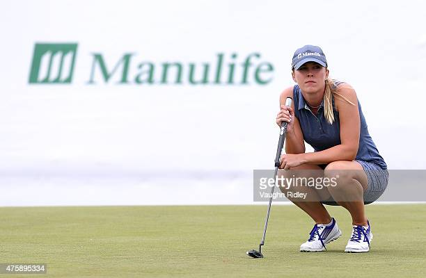 Jennifer Kirby of Canada prepares to take a put on the 4th hole during the first round of the Manulife LPGA Classic at the Whistle Bear Golf Club on...