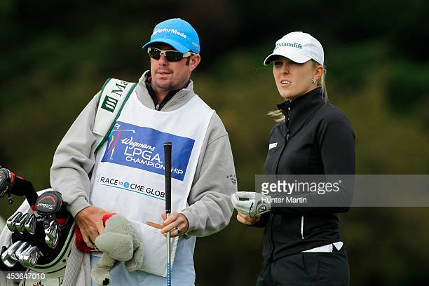Jennifer Kirby of Canada stands with her caddie on the 11th tee during the second round of the Wegmans LPGA Championship at Monroe Golf Club on...