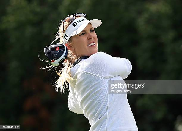 Jennifer Kirby of Canada takes her tee shot on the 18th hole during the first round of the Manulife LPGA Classic at Whistle Bear Golf Club on...