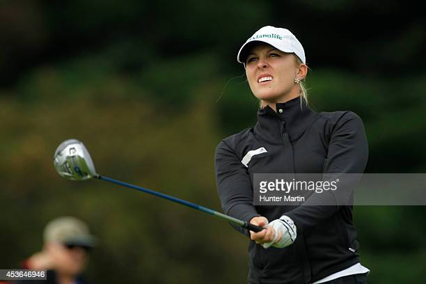 Jennifer Kirby of Canada watches her tee shot on the 11th hole during the second round of the Wegmans LPGA Championship at Monroe Golf Club on August...