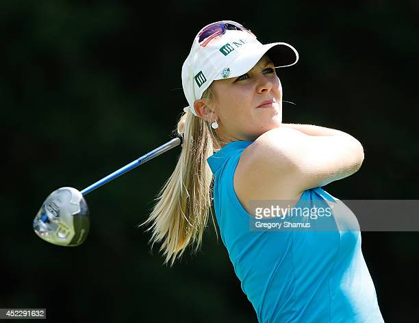 Jennifer Kirby watches her tee shot on the 18th hole during the first round of the Marathon Classic presented by Owens Corning and OI at Highland...