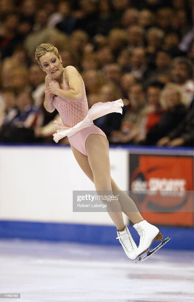 Jennifer Kirk competes during the women's free skate program at the State Farm US Figure Skating Championships on January 18, 2003 at the American Airlines Center in Dallas, Texas.