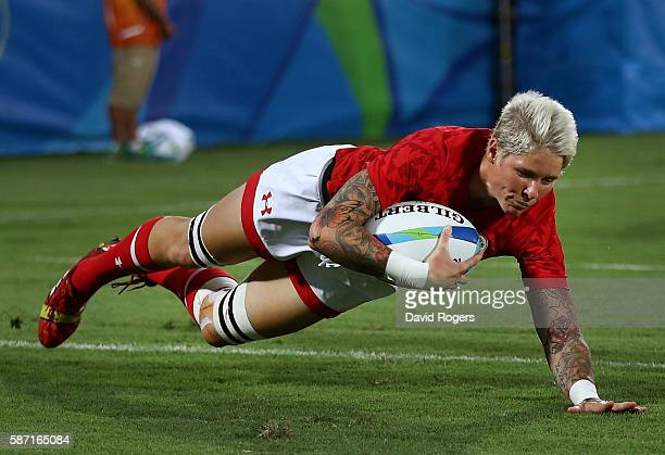 Jennifer Kish of Canada dives to score a try during a Women's Pool C rugby match between Canada and Brazil on Day 1 of the Rio 2016 Olympic Games at...