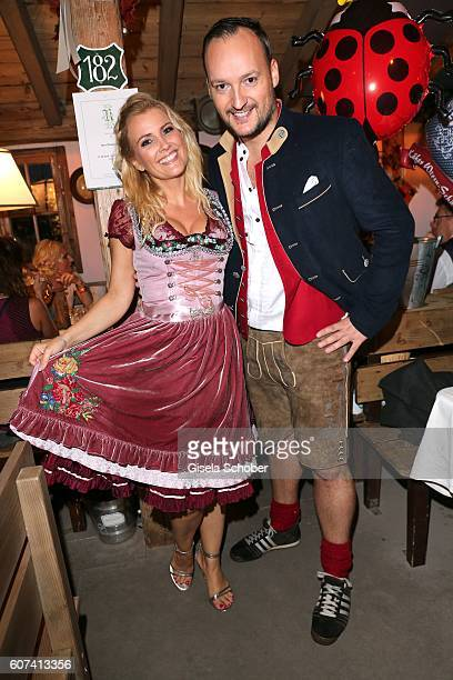Jennifer Knaeble and her boyfriend Felix Moese during the opening of the Oktoberfest 2016 at the 'Kaeferschaenke' beer tent at Theresienwiese on...