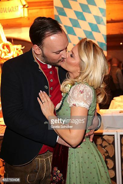 Jennifer Knaeble and her fiance Felix Moese are engaged and attend the Weisswurstparty at Hotel Stanglwirt on January 20 2017 in Going near...