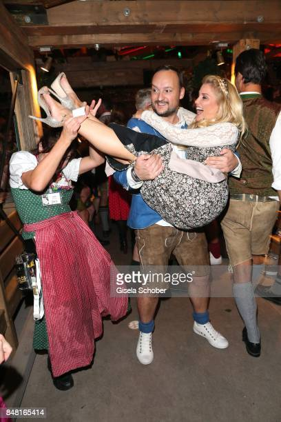 Jennifer Knaeble and her fiancee Felix Moese during the opening of the Oktoberfest 2017 at Kaeferschaenke at Theresienwiese on September 16 2017 in...