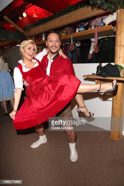 Jennifer Knaeble and her husband Felix Moese during the 28th Weisswurstparty at Hotel Stanglwirt on January 25 2019 in Going near Kitzbuehel Austria