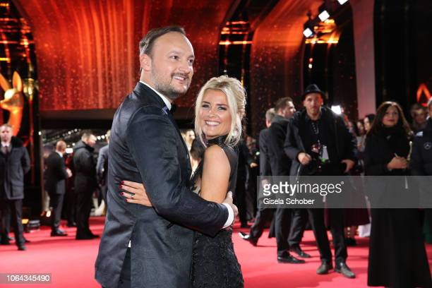 Jennifer Knaeble and her husband Felix Moese during the Bambi Awards 2018 Arrivals at Stage Theater on November 16 2018 in Berlin Germany