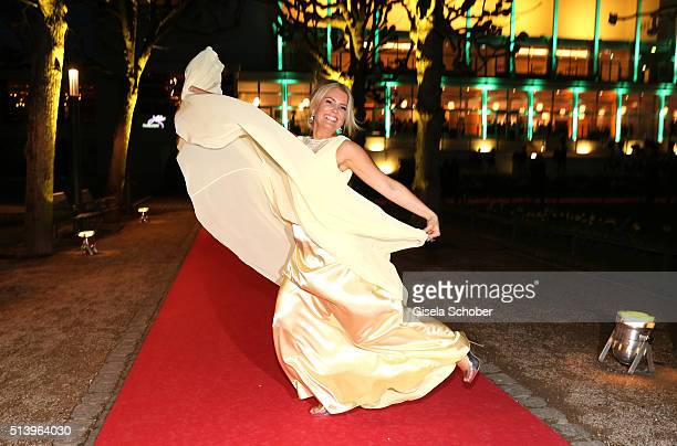 Jennifer Knaeble wearing a dress by 'unique' during the Spring Ball Frankfurt 2016 on March 5 2016 at Palmengarten in Frankfurt am Main Germany