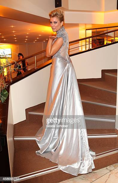 Jennifer Knaeble wearing a dress of Irene Luft during the 33 Deutscher Sportpresseball German Sports Media Ball 2014 at Alte Oper on November 08 2014...
