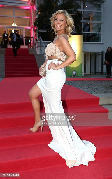Jennifer Knaeble wearing a white dress by Marcell von Berlin during the Spring Ball Frankfurt 2015 at Palmengarten on March 28 2015 in Frankfurt am...