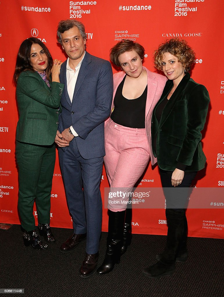 Jennifer Konner, Jason Benjamin, Lena Dunham and a guest attend the 'Suited' Premiere during the 2016 Sundance Film Festival at Temple Theater on January 25, 2016 in Park City, Utah.