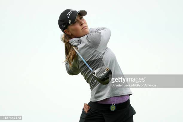 Jennifer Kupcho hits her tee shot on the third hole during the second round of the KPMG PGA Championship at Hazeltine National Golf Club on June 21...