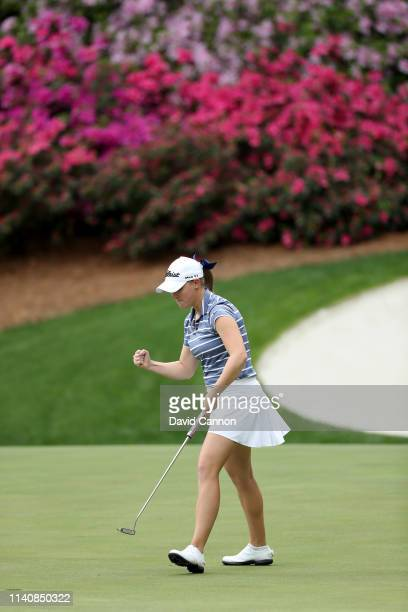 Jennifer Kupcho of the United States celebrates holing a putt for eagle on the par 5 13th hole the final round of the inaugural Augusta National...