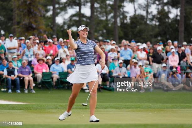 Jennifer Kupcho of the United States celebrates on the 18th green after winning during the final round of the Augusta National Women's Amateur at...