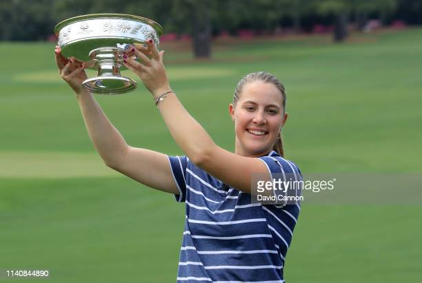 Jennifer Kupcho of the United States holds the trophy after the final round of the inaugural Augusta National Women's Amateur Championship at Augusta...