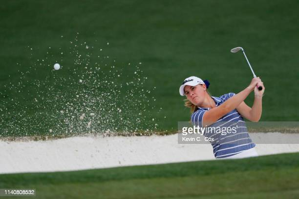 Jennifer Kupcho of the United States plays a shot from a bunker on the second hole during the final round of the Augusta National Women's Amateur at...