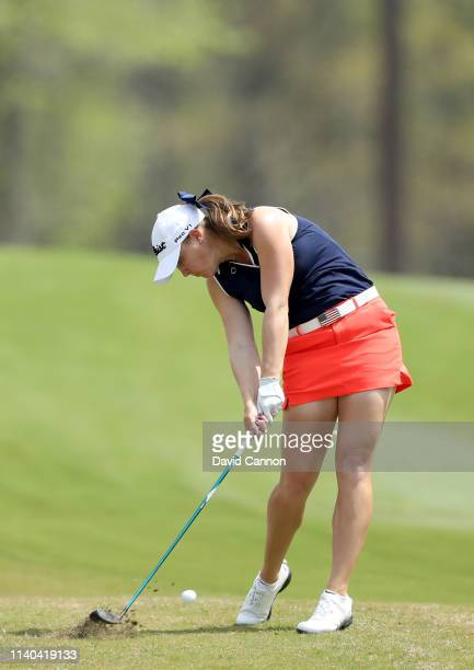 Jennifer Kupcho of the United States plays her second shot on the 18th hole during the second round of the inaugural Augusta National Women's Amateur...