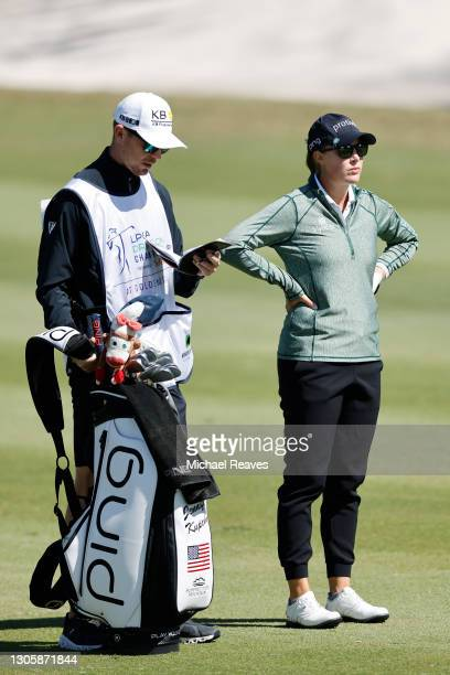 Jennifer Kupcho of the United States talks with her caddie on the seventh hole during the final round of the LPGA Drive On Championship at Golden...
