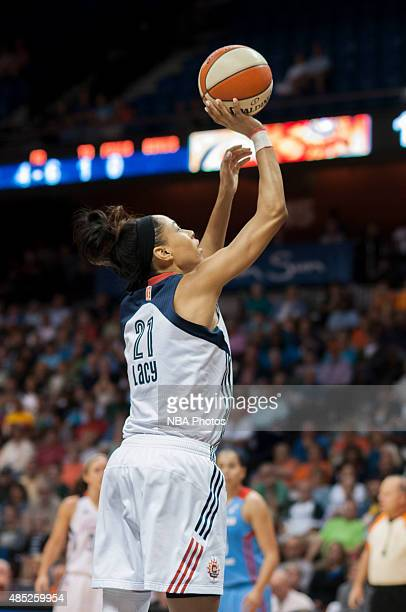 Jennifer Lacy of the Connecticut Sun shoots the ball against the Atlanta Dream on August 23 2015 at the Mohegan Sun Arena in Uncasville Connecticut...