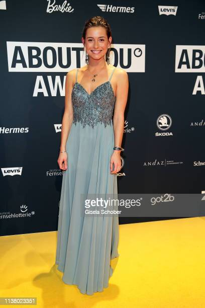 Jennifer Lange winner Bachelor 2019 during the 3rd ABOUT YOU Awards at Bavaria Studios on April 18 2019 in Munich Germany